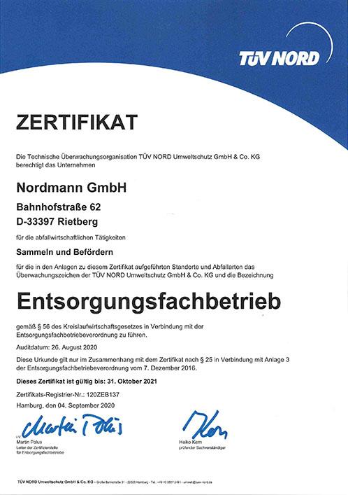 TÜV-Zertifikat-Nordmann